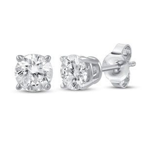 Diamond solitaire earrings sterling silver 1/4 ct